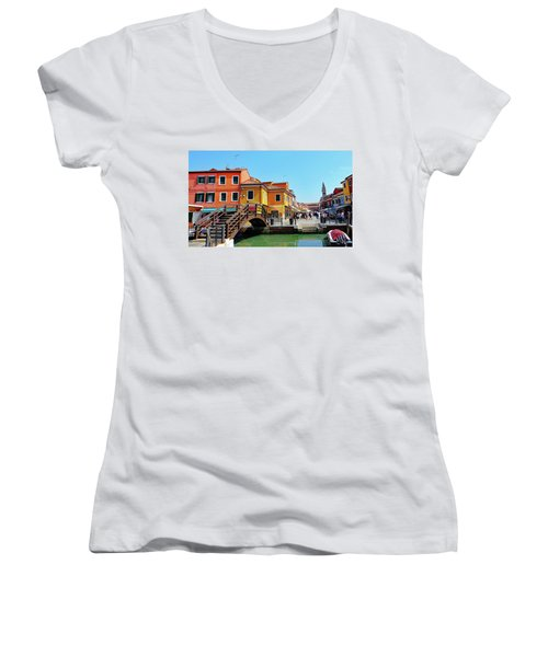 The Main Street On The Island Of Burano, Italy Women's V-Neck T-Shirt