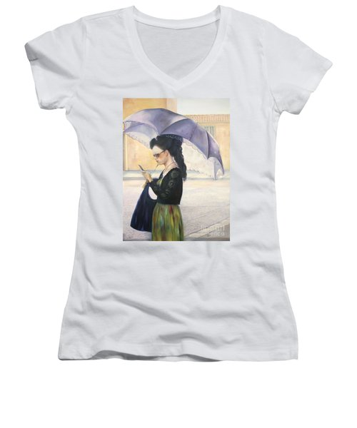Women's V-Neck T-Shirt (Junior Cut) featuring the painting The Message by Marlene Book