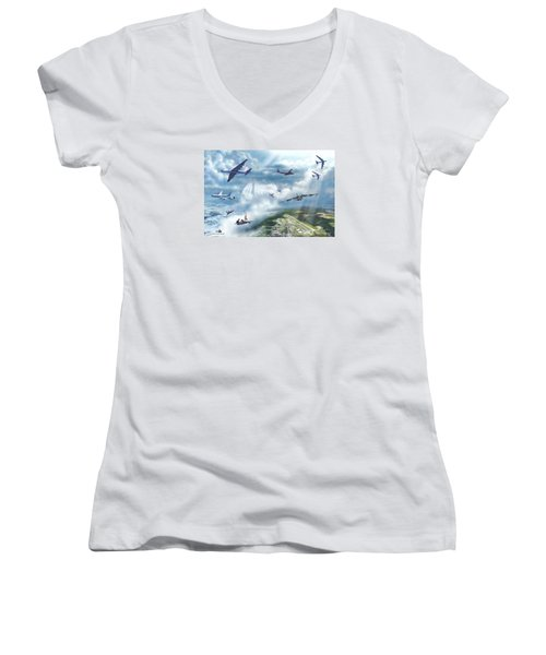 Women's V-Neck T-Shirt (Junior Cut) featuring the painting The Mighty Loring A F B by Dave Luebbert