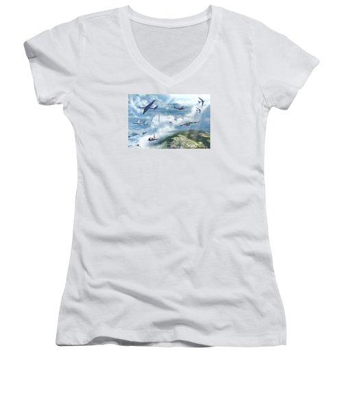 The Mighty Loring A F B Women's V-Neck T-Shirt