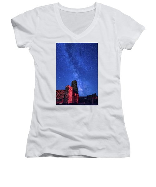 The Milky Way Over The Crest House Women's V-Neck