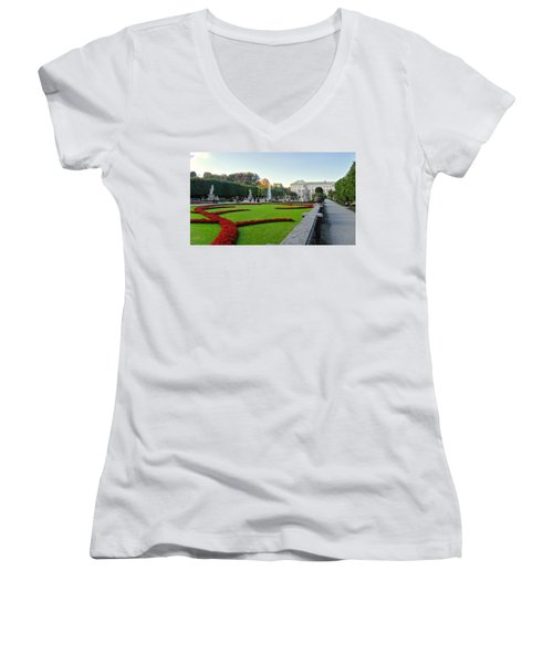 Women's V-Neck T-Shirt (Junior Cut) featuring the photograph The Mirabell Palace In Salzburg by Silvia Bruno