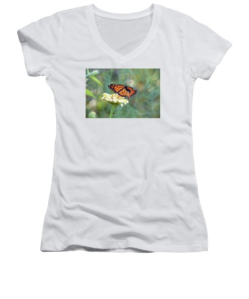 Women's V-Neck featuring the photograph The Monarch Has Arrived by Brian Hale