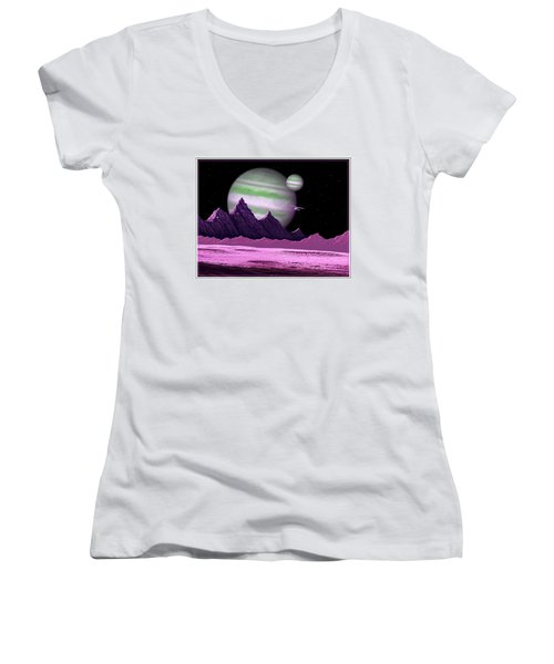 Women's V-Neck T-Shirt (Junior Cut) featuring the digital art The Moons Of Meepzor by Scott Ross