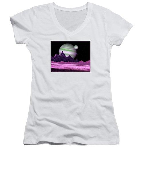 The Moons Of Meepzor Women's V-Neck T-Shirt
