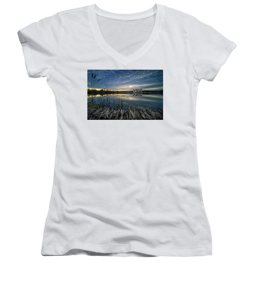 The Moritzburg Castle Is A Baroque Palace In Moritzburg In The German State Of Saxony. Saxony, Germany. Women's V-Neck (Athletic Fit)