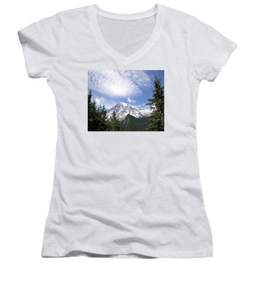 The Mountain  Mt Rainier  Washington Women's V-Neck T-Shirt (Junior Cut) by Michael Bessler