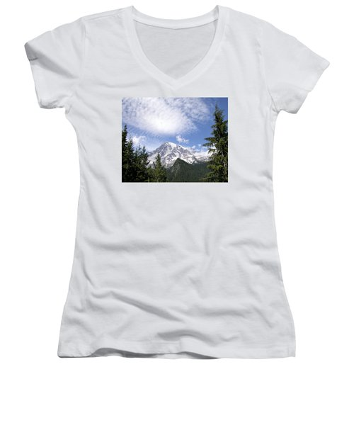 The Mountain  Mt Rainier  Washington Women's V-Neck (Athletic Fit)