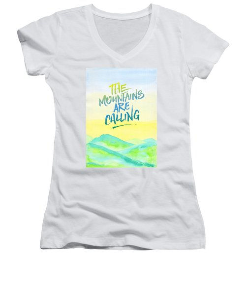 The Mountains Are Calling Yellow Blue Sky Watercolor Painting Women's V-Neck