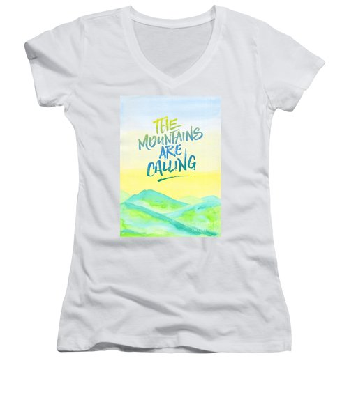 The Mountains Are Calling Yellow Blue Sky Watercolor Painting Women's V-Neck (Athletic Fit)
