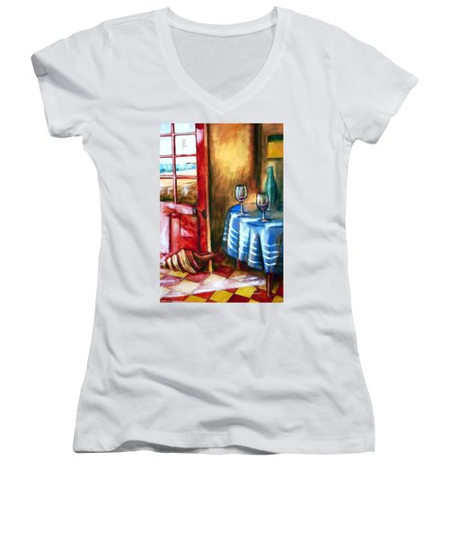The Mystery Room Women's V-Neck T-Shirt (Junior Cut) by Winsome Gunning