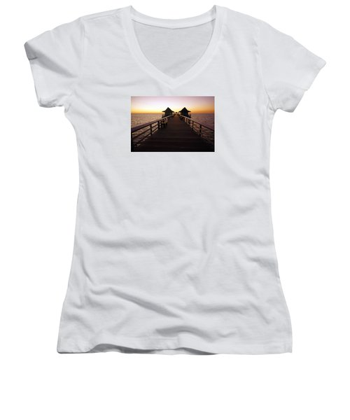 Women's V-Neck T-Shirt (Junior Cut) featuring the photograph The Naples Pier At Twilight - 01 by Robb Stan