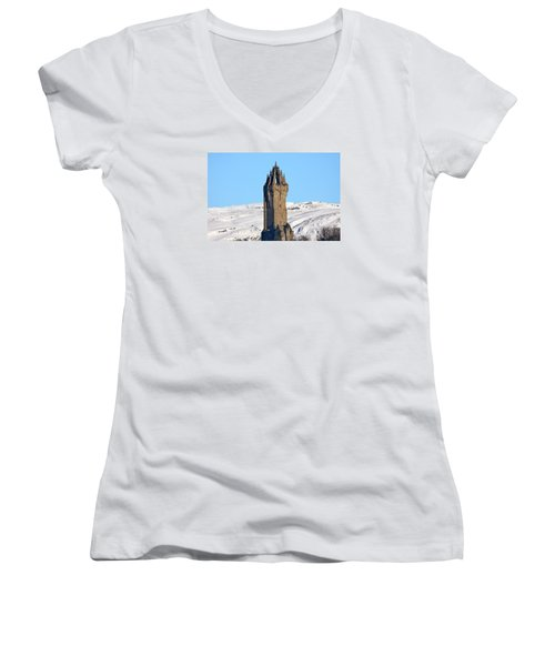 The National Wallace Monument Women's V-Neck T-Shirt (Junior Cut) by RKAB Works