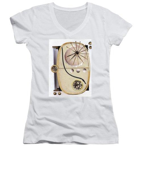 Women's V-Neck T-Shirt (Junior Cut) featuring the painting The Navigator by Michal Mitak Mahgerefteh