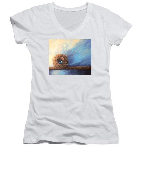 The Nest 2017 Women's V-Neck T-Shirt (Junior Cut) by Torrie Smiley