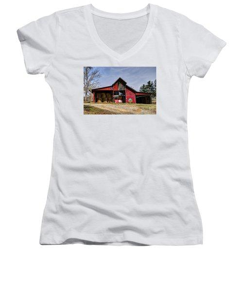 The New Barn Women's V-Neck T-Shirt (Junior Cut) by Paul Mashburn