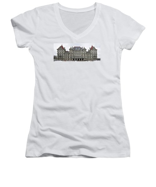 Women's V-Neck T-Shirt (Junior Cut) featuring the photograph The New York State Capitol In Albany New York by Brendan Reals