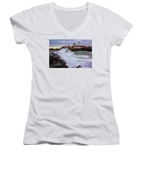 Women's V-Neck T-Shirt (Junior Cut) featuring the photograph The Nubble After A Storm by Rick Berk