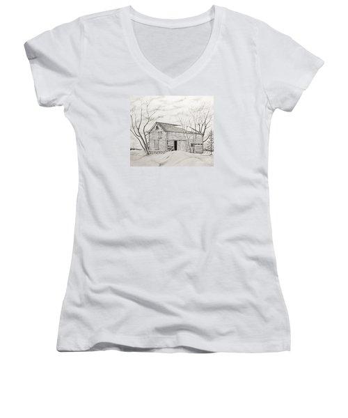 The Old Barn Inwinter Women's V-Neck T-Shirt (Junior Cut) by John Stuart Webbstock