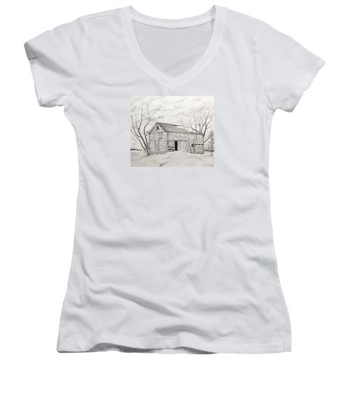 The Old Barn Inwinter Women's V-Neck T-Shirt