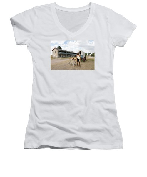 Women's V-Neck T-Shirt (Junior Cut) featuring the photograph The Old Cavalry Barracks At Fort Laramie National Historic Site by Carol M Highsmith