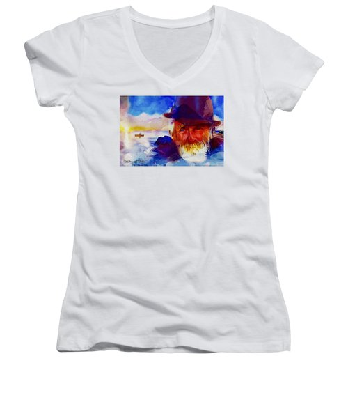 The Old Man And The Sea Women's V-Neck T-Shirt (Junior Cut) by Ted Azriel