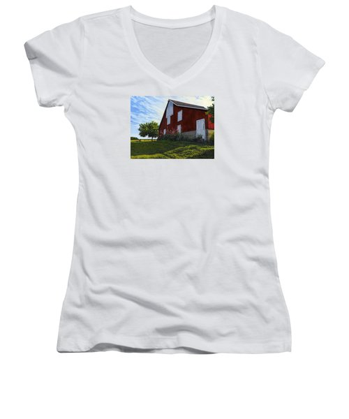 The Old Stucco Barn Women's V-Neck (Athletic Fit)