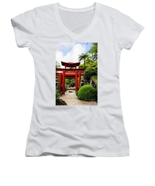 The Oriental Gate To Happiness Women's V-Neck