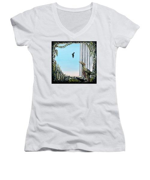 The Origin Of Species -a Recurring Pattern- Women's V-Neck T-Shirt (Junior Cut) by Ryan Demaree