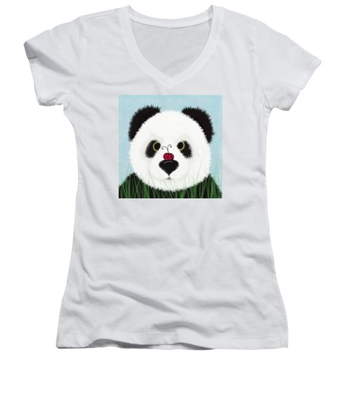 The Panda And His Visitor  Women's V-Neck T-Shirt (Junior Cut) by Michelle Brenmark