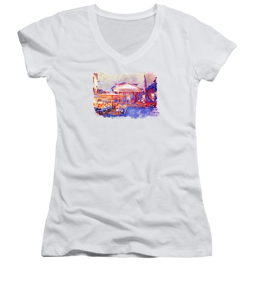 The Pantheon Rome Watercolor Streetscape Women's V-Neck (Athletic Fit)