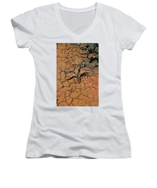 Women's V-Neck featuring the photograph The Parched Earth by Ron Cline