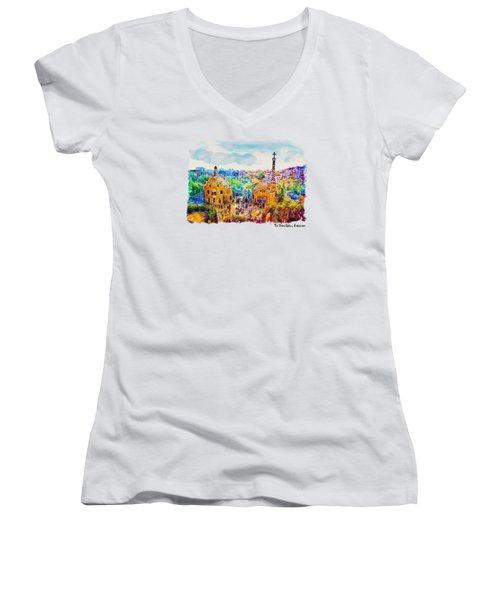 Park Guell Barcelona Women's V-Neck T-Shirt (Junior Cut) by Marian Voicu