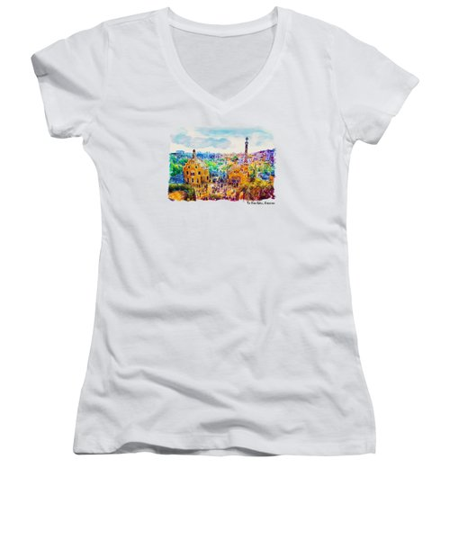 Park Guell Barcelona Women's V-Neck (Athletic Fit)