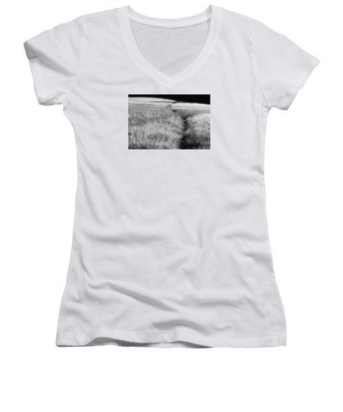 Women's V-Neck T-Shirt (Junior Cut) featuring the photograph The Path by Mark Alan Perry