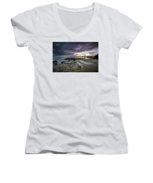 The Pier @ Lorne Women's V-Neck T-Shirt (Junior Cut) by Mark Lucey