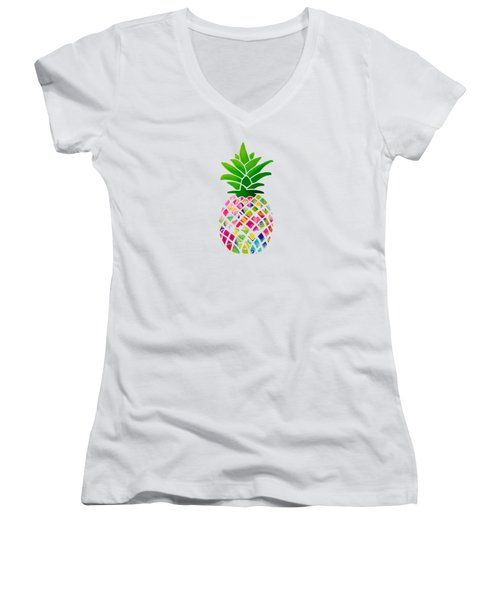 The Pineapple Women's V-Neck T-Shirt (Junior Cut) by Maddie Koerber
