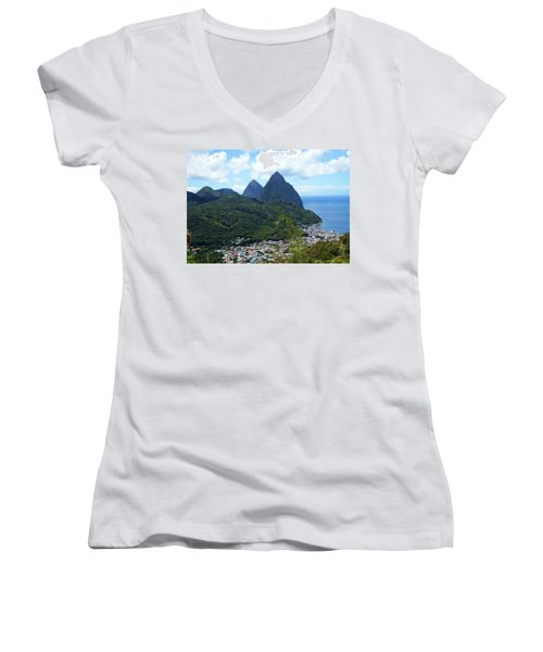 Women's V-Neck T-Shirt (Junior Cut) featuring the photograph The Pitons, St. Lucia by Kurt Van Wagner