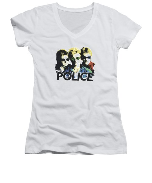 Women's V-Neck T-Shirt (Junior Cut) featuring the digital art The Police by Gina Dsgn