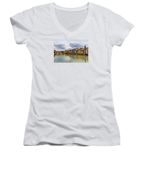 The Ponte Vecchio And Florence Women's V-Neck T-Shirt (Junior Cut) by Wade Brooks