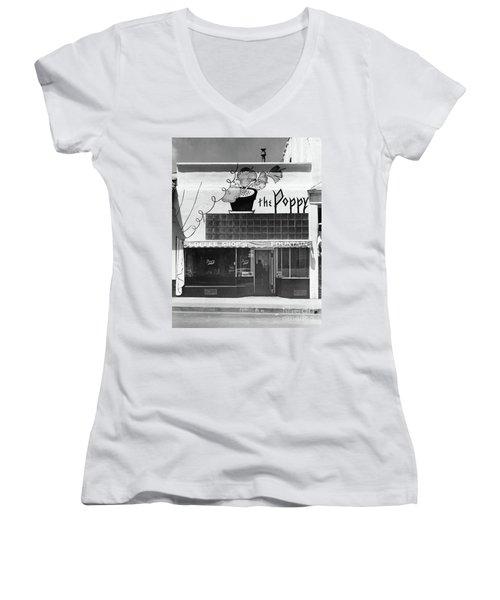 The Poppy, Coffee Shop, Fountain, Alvarado Street, Monterey Circ Women's V-Neck