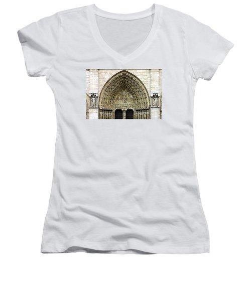 The Portal Of The Last Judgement Of Notre Dame De Paris Women's V-Neck