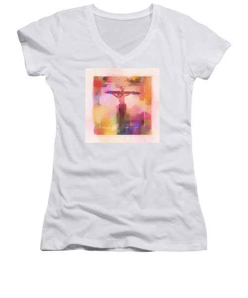 Women's V-Neck T-Shirt (Junior Cut) featuring the digital art The Price by Aaron Berg