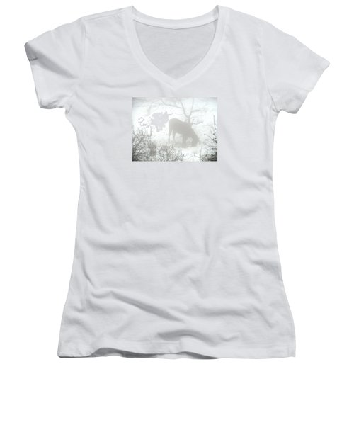 Women's V-Neck T-Shirt (Junior Cut) featuring the photograph The Primal Mist by Annemeet Hasidi- van der Leij