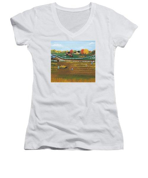 The Pumpkin Patch Women's V-Neck T-Shirt (Junior Cut) by Virginia Coyle