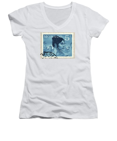 The Rainy Days Stamp Women's V-Neck T-Shirt (Junior Cut) by Udo Linke