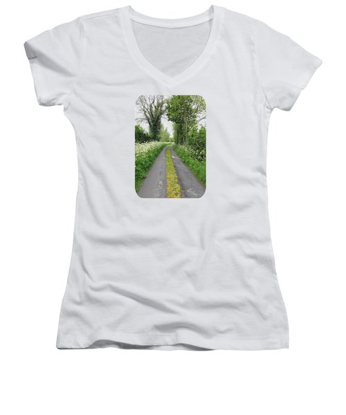 The Road To The Wood Women's V-Neck T-Shirt (Junior Cut) by Ethna Gillespie