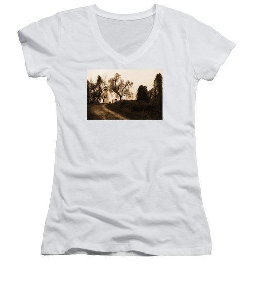 The Road To Turkey Point Lighthouse Women's V-Neck