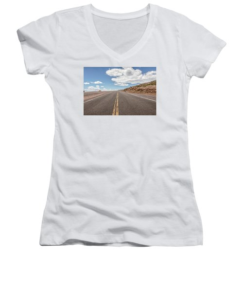 Women's V-Neck T-Shirt (Junior Cut) featuring the photograph The Road Up Pikes Peak At Around 12,000 Feet by Peter Ciro