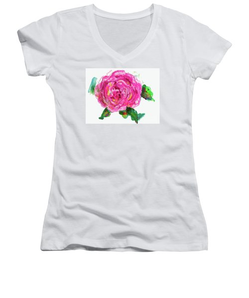 The Rose Women's V-Neck T-Shirt (Junior Cut) by Beth Saffer